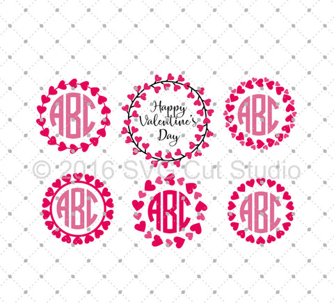 SVG files for Cricut Hearts Monogram Frames SVG Cut Files D2 Silhouette Studio3 files PNG clipart free svg by SVG Cut Studio