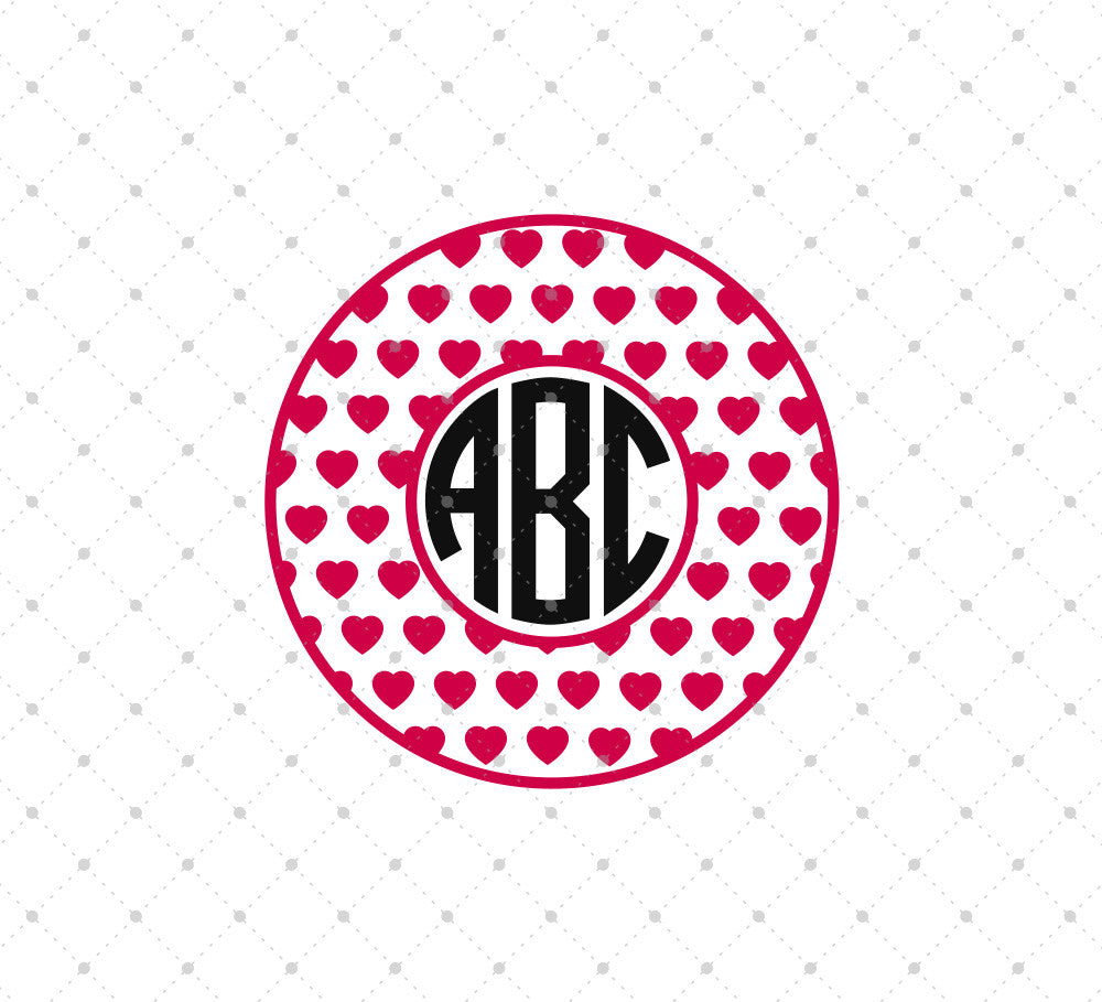 Hearts Pattern Circle Monogram SVG Cut Files - SVG Cut Studio