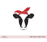 Heifer with Bandana cow face SVG Files