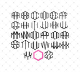 Hexagon Monogram Font Alphabet Letters SVG DXF PNG Cut Files