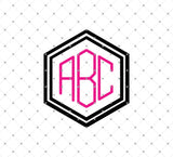Hexagon Monogram Font Alphabet Letters SVG DXF PNG Cut Files at SVG Cut Studio