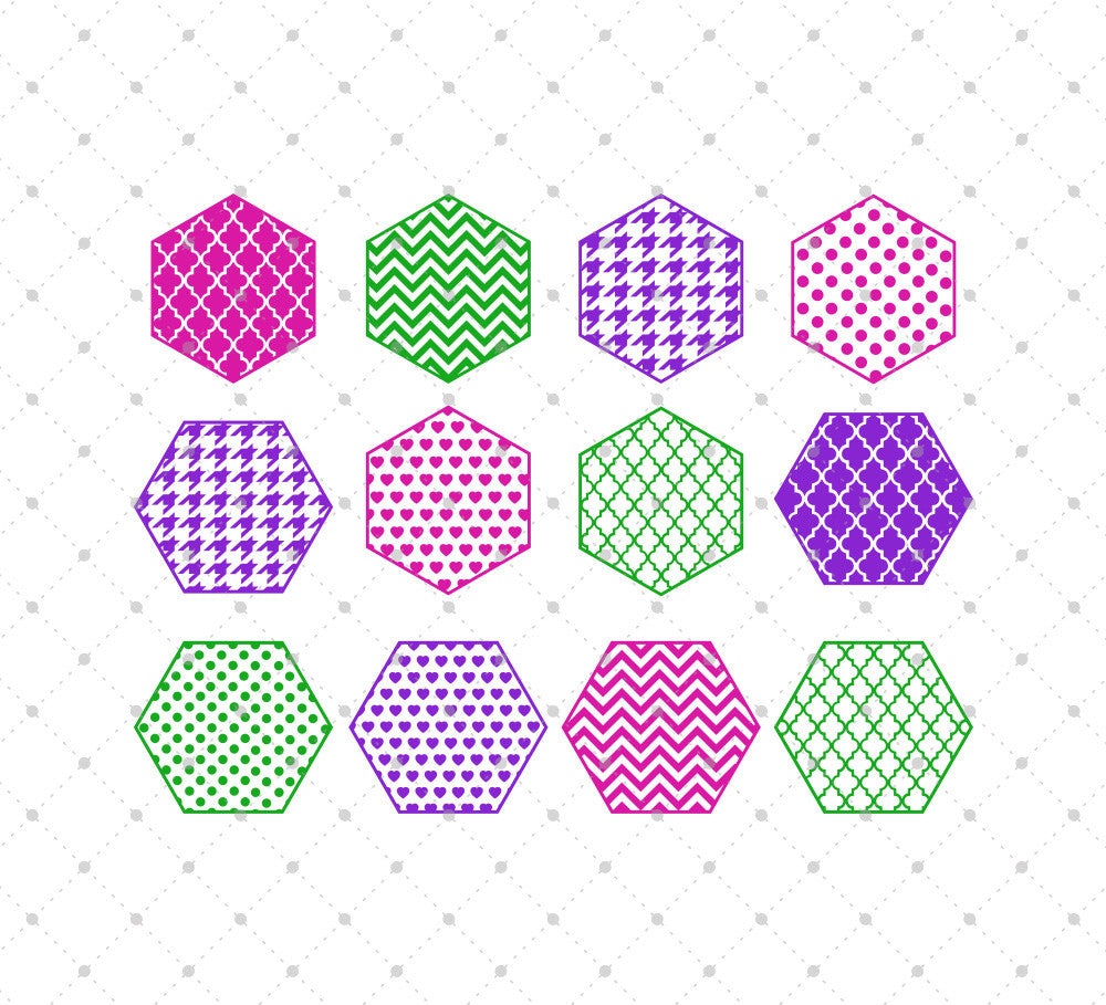 Patterned Hexagon SVG Cut Files for Cricut Silhouette printable png dxf clipart and free svg files by SVG Cut Studio