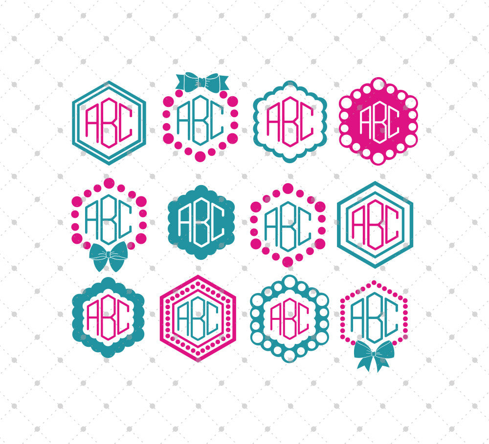 Hexagon Monogram Frames SVG Cut Files - SVG DXF PNG cut cutting files for Cricut and Silhouette by SVG Cut Studio