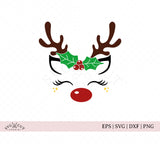 Christmas Holly Reindeer SVG files