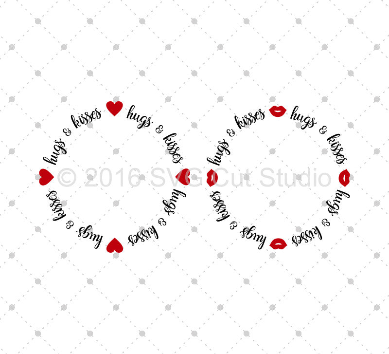 SVG files for Cricut Hugs and Kisses Monogram Frame SVG Cut Files Silhouette Studio3 files PNG clipart free svg by SVG Cut Studio