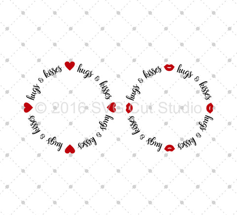 Hugs and Kisses Monogram Frame SVG Cut Files