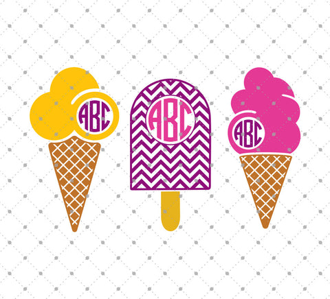 Ice Cream Monogram Frames SVG Cut Files at SVG Cut Studio