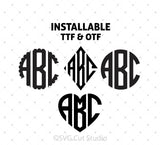 SVG files for Cricut True Type Monogram Fonts Bundle Silhouette Studio3 files PNG clipart free svg by SVG Cut Studio
