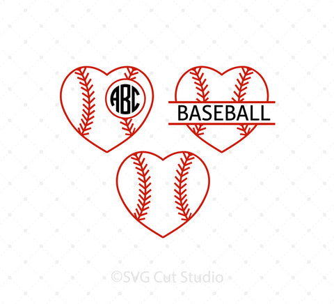 Baseball Heart Ball SVG Cut Files