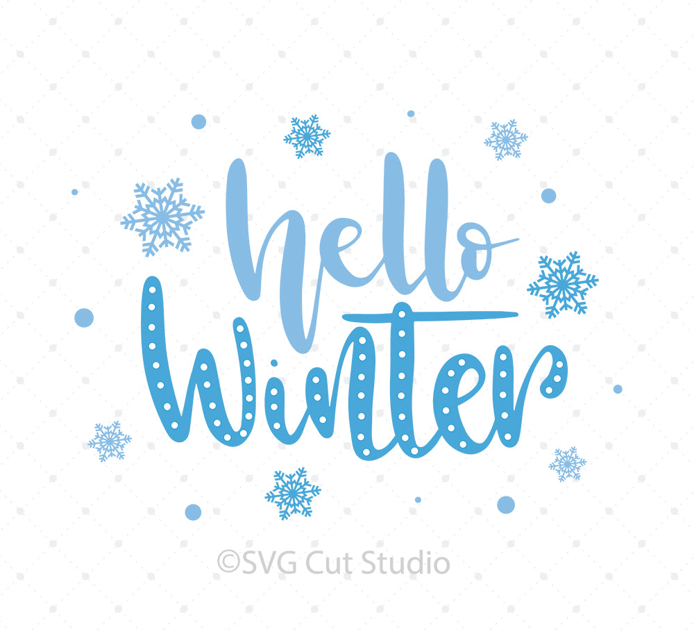 Hello Winter SVG Cut Files