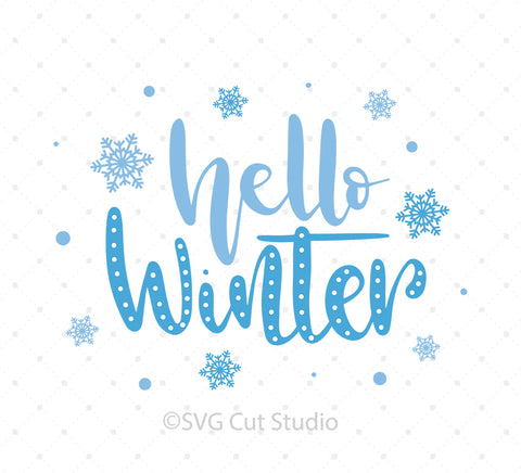 SVG files for Cricut Hello Winter SVG Cut Files Silhouette Studio3 files PNG clipart free svg by SVG Cut Studio