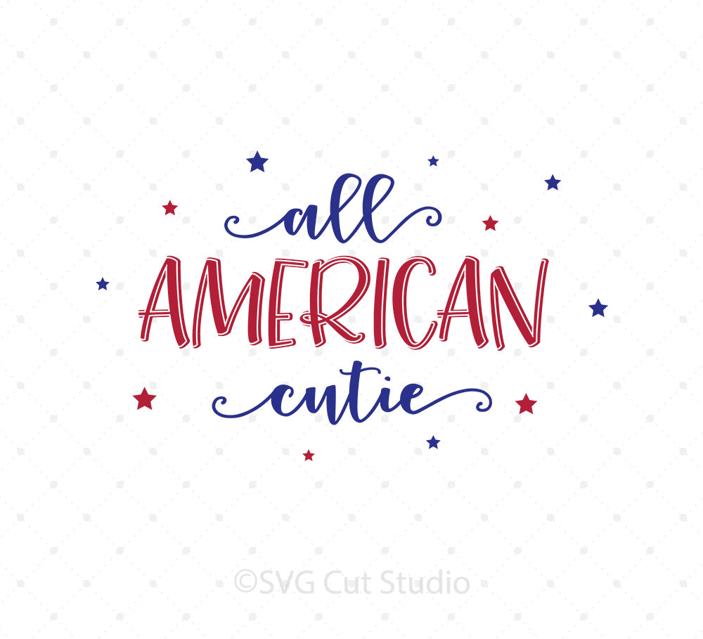 All American Cutie SVG Cut Files for Cricut Silhouette printable png dxf clipart and free svg files by SVG Cut Studio