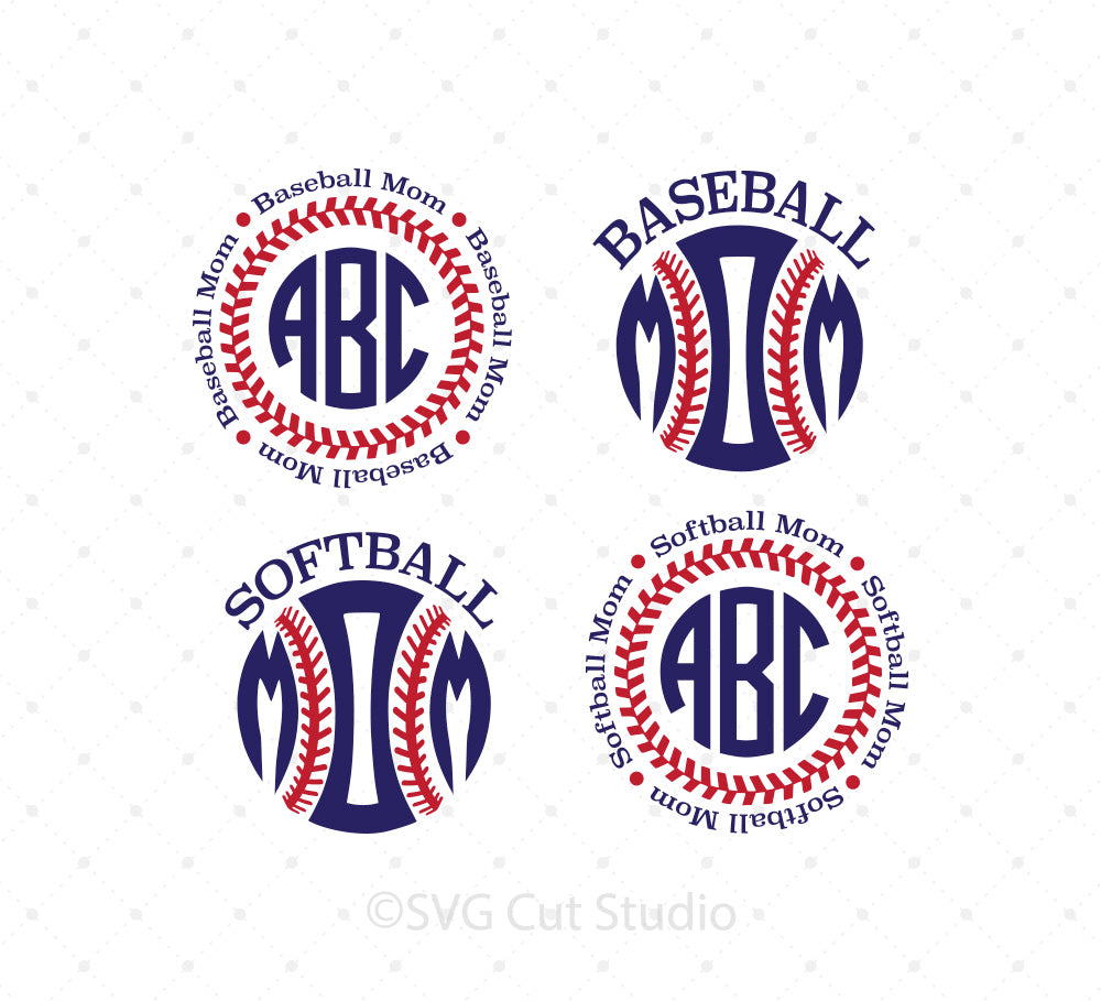 SVG files for Cricut Baseball Mom, Softball Mom SVG cut files Silhouette Studio3 files PNG clipart free svg by SVG Cut Studio