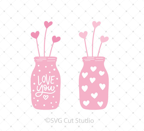 Hearts Mason Jar SVG Cut Files for Cricut Silhouette printable png dxf clipart and free svg files by SVG Cut Studio
