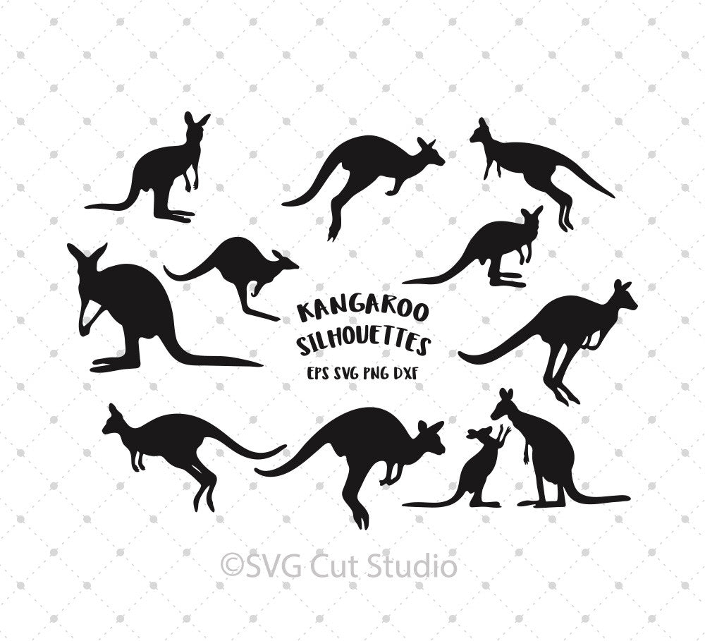 Kangaroo Silhouettes SVG Cut Files - SVG DXF PNG cut cutting files for Cricut and Silhouette by SVG Cut Studio