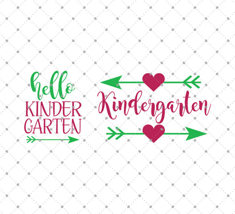 Hello Kindergarten SVG Cut Files for Cricut Silhouette printable png dxf clipart and free svg files by SVG Cut Studio