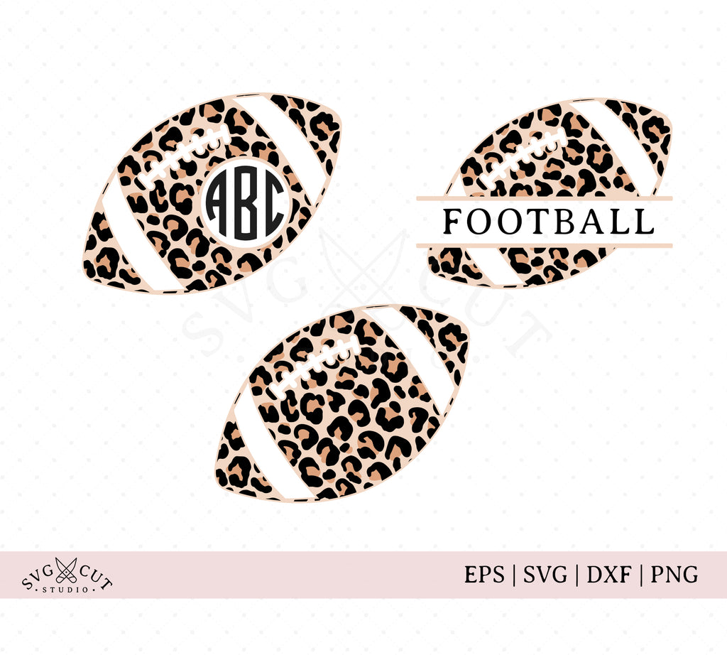 Leopard Print Football SVG Cut Files