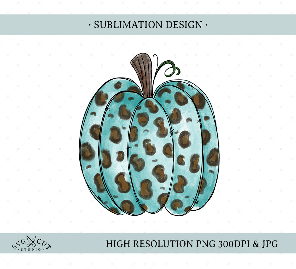 Leopard Pattern Pumpkin Sublimation Design, Hand drawn Pumpkin, PNG file