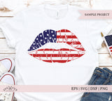 American Flag Girl Lips SVG Files