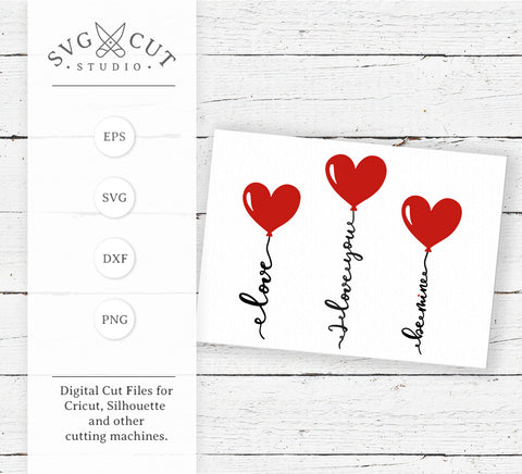 Valentines Day Heart Balloons SVG Cut Files