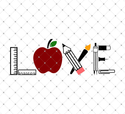 Love School SVG Cut Files for Cricut Silhouette printable png dxf clipart and free svg files by SVG Cut Studio