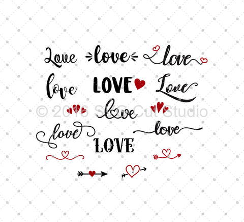 SVG files for Cricut Valentine's Day Love SVG Cut Files Silhouette Studio3 files PNG clipart free svg by SVG Cut Studio