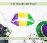 Mardi Gras Lips Sublimation/Printable Design, Hand drawn Watercolour PNG