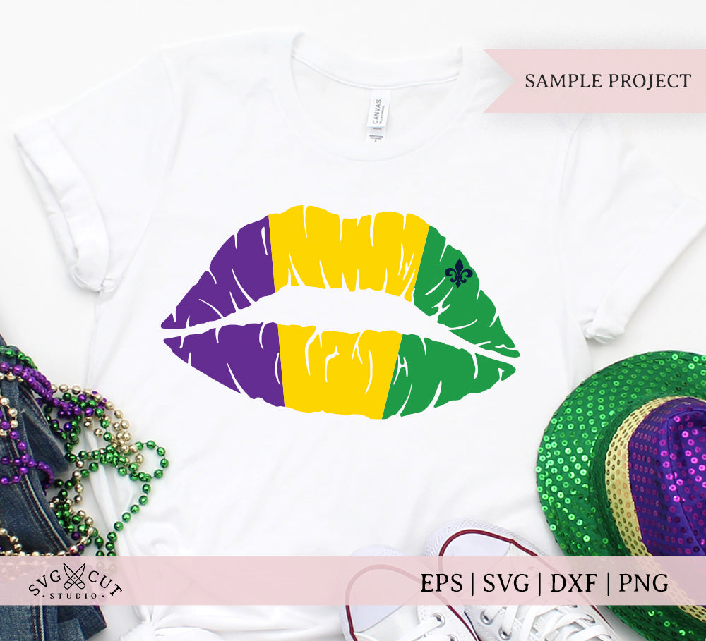 Mardi Gras Girl Lips SVG files