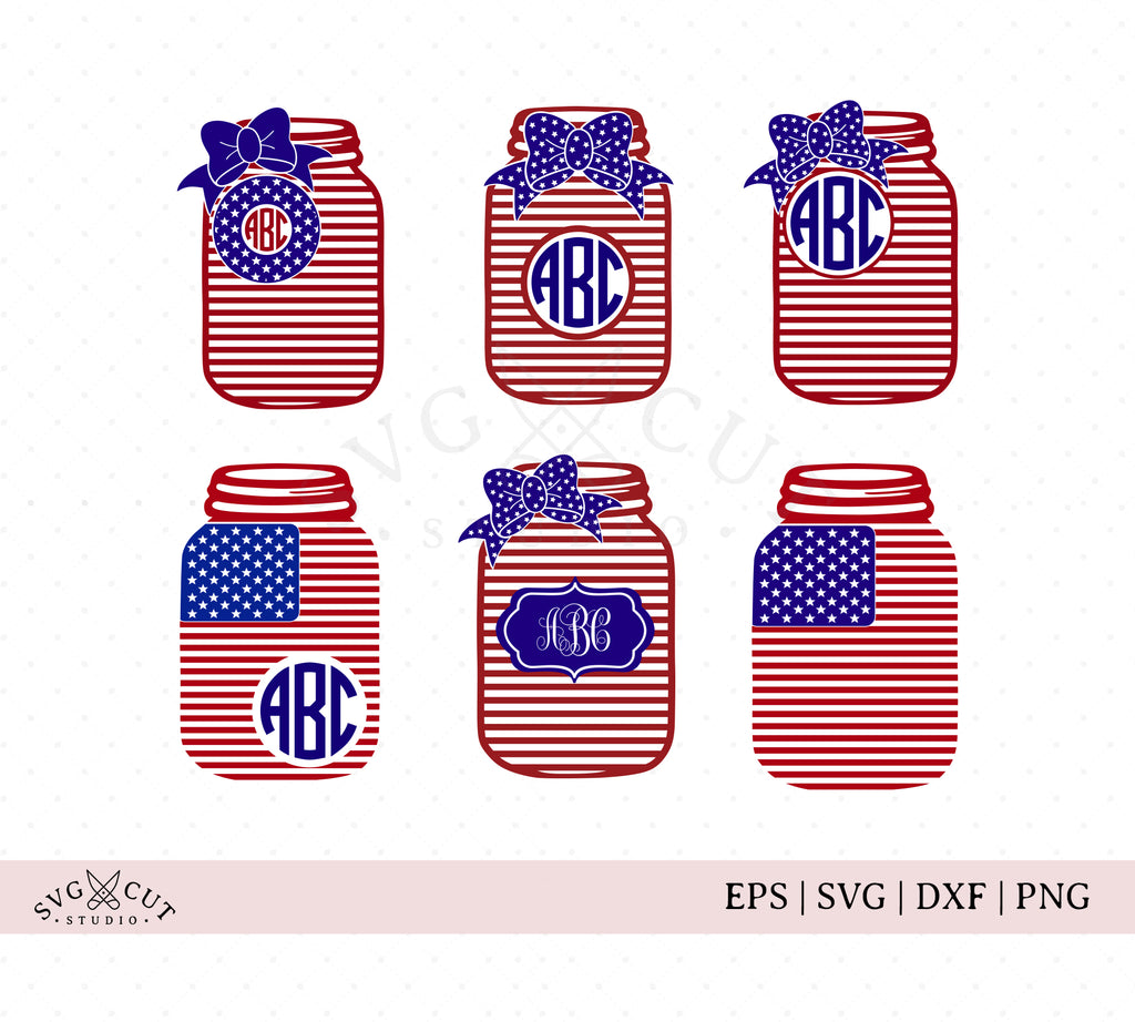 4th of July Mason Jar SVG Cut Files