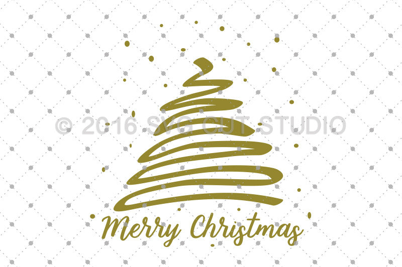Merry Christmas Tree SVG Cut Files - SVG DXF PNG cut cutting files for Cricut and Silhouette by SVG Cut Studio