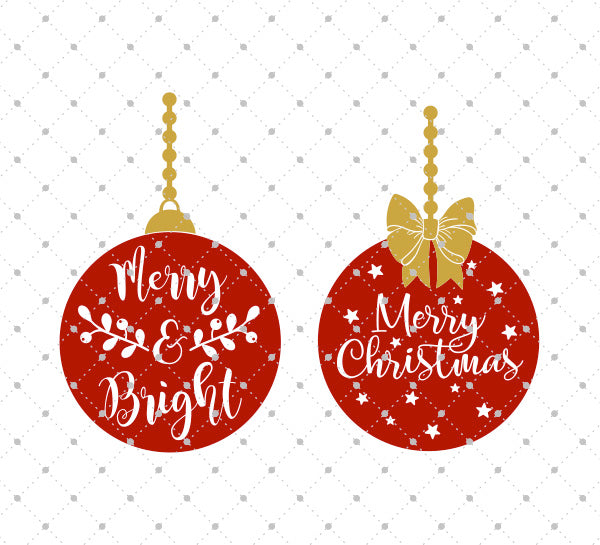 Merry And Bright Christmas Tree Balls Svg Files