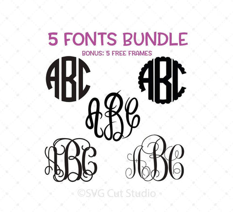 Monogram Font Bundle SVG PNG DXF Cut Files, monogram fonts for cricut,