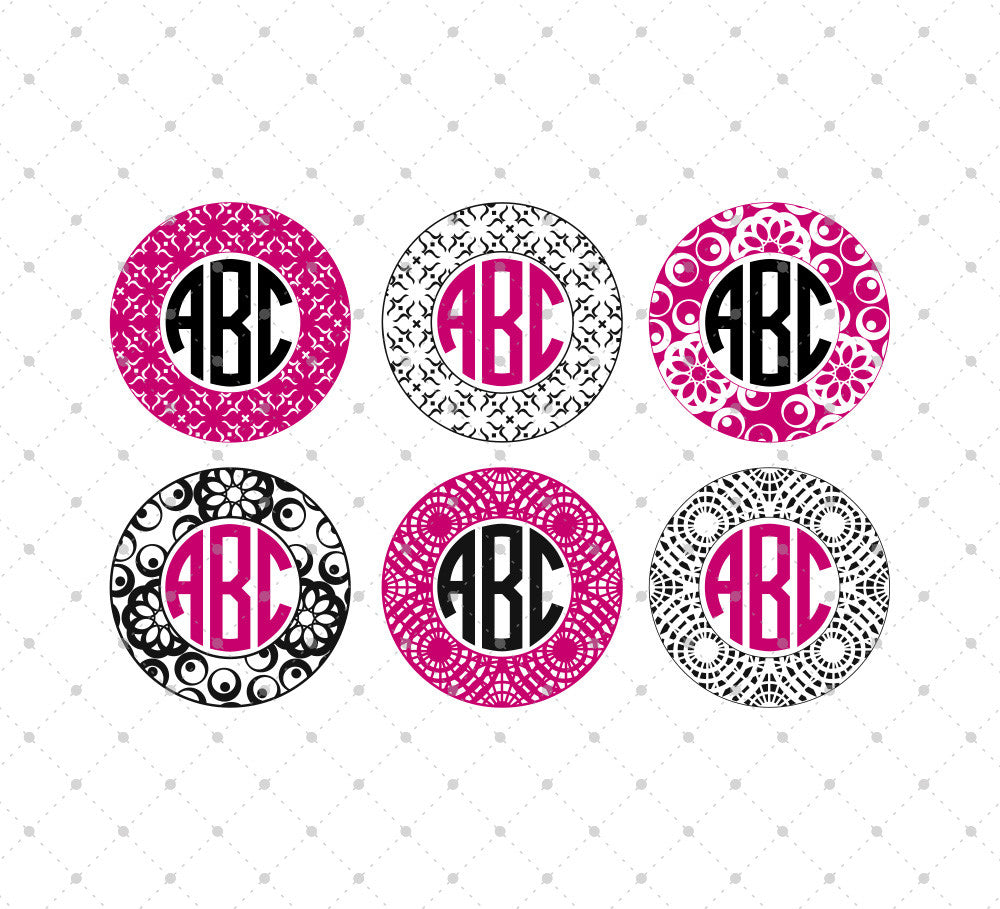 SVG files for Cricut Circle Monogram Frame SVG Cut Files #2 Silhouette Studio3 files PNG clipart free svg by SVG Cut Studio