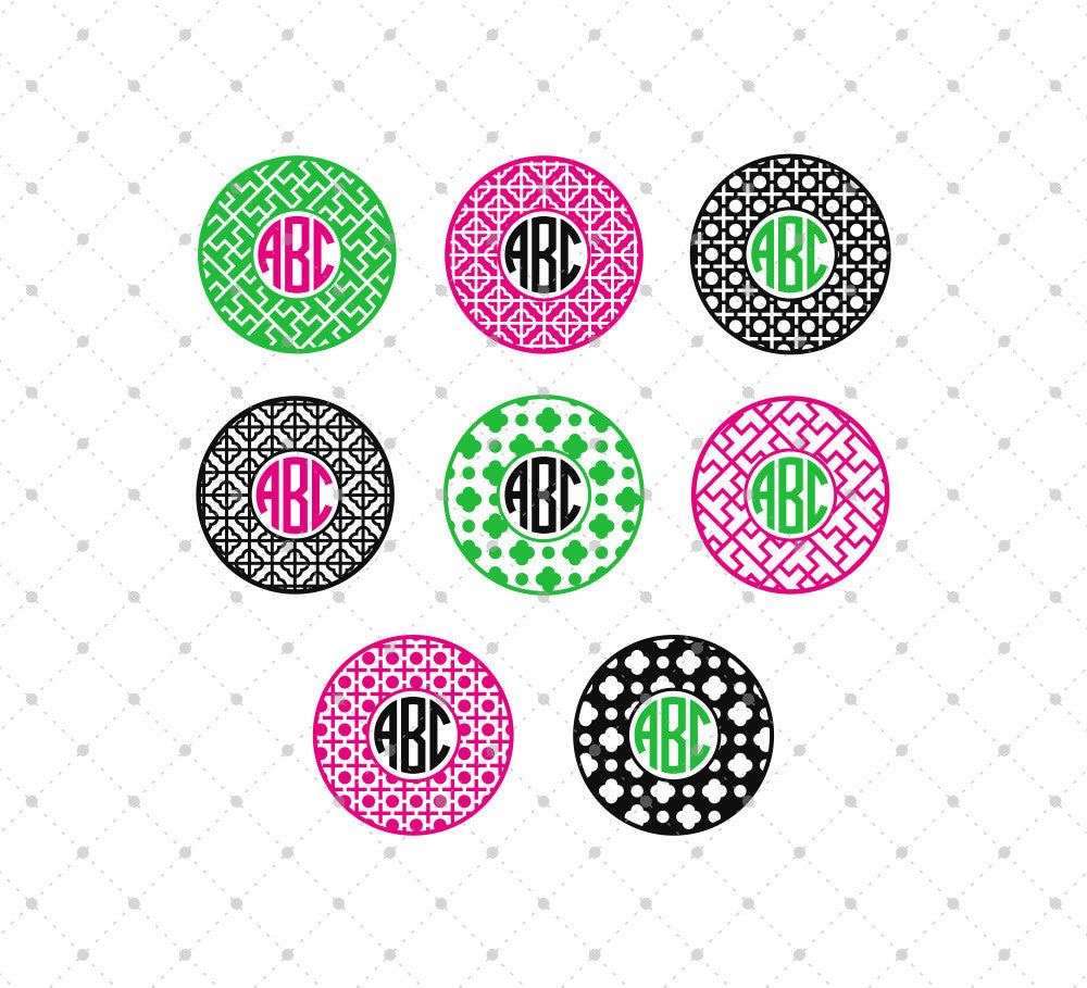 Circle Monogram Frame SVG Cut Files #3
