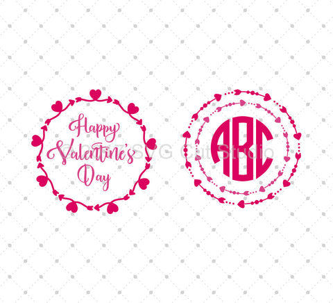 SVG files for Cricut Valentine's Day Monogram frames SVG Cut Files Silhouette Studio3 files PNG clipart free svg by SVG Cut Studio