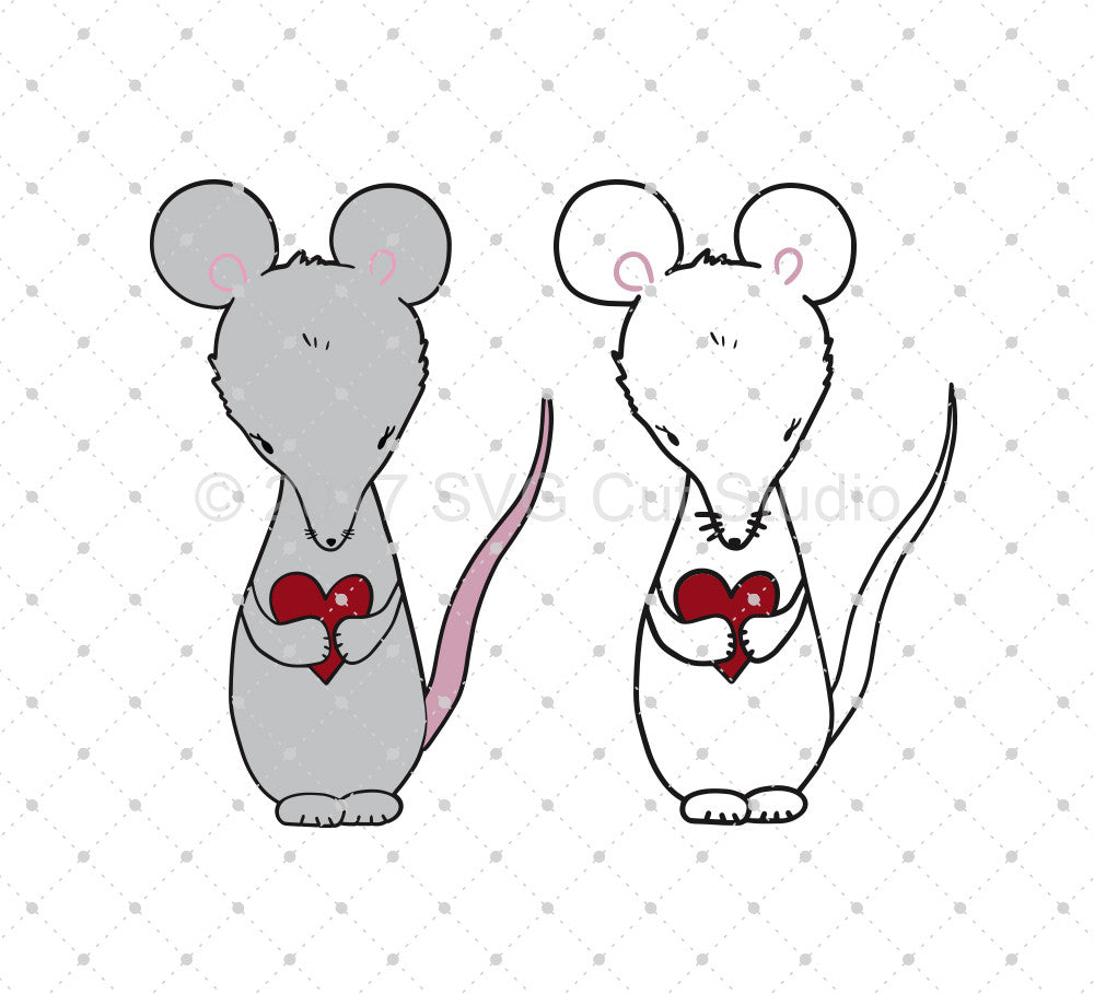 Hand Drawn Valentine's Day Mouse SVG Cut Files - SVG Cut Studio
