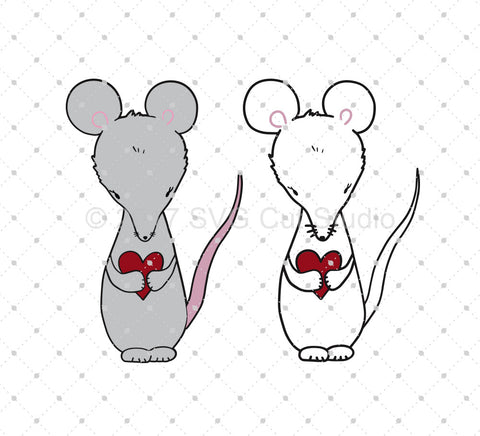 Hand Drawn Valentine's Day Mouse SVG Cut Files - SVG DXF PNG cut cutting files for Cricut and Silhouette by SVG Cut Studio