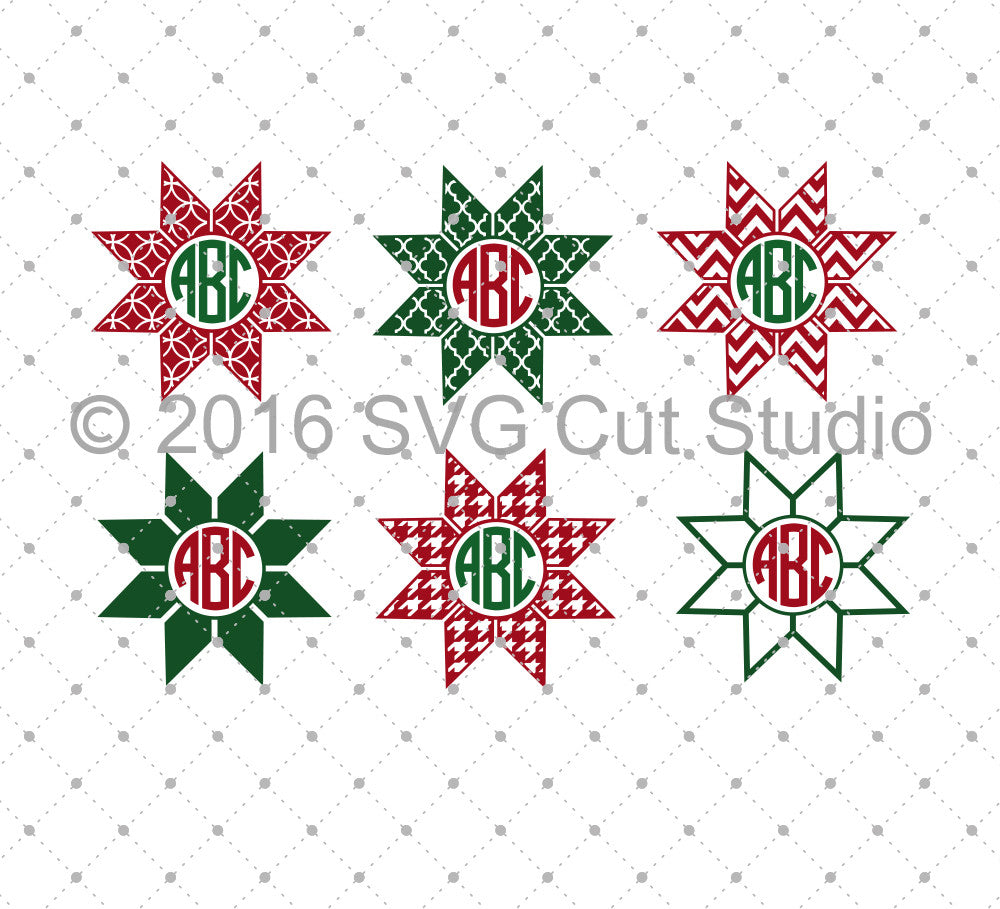 Nordic Star Monogram SVG Cut files for Cricut Silhouette printable png dxf clipart and free svg files by SVG Cut Studio