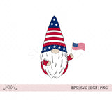4th of July american flag Gnome svg png dxf cutting sublimation files