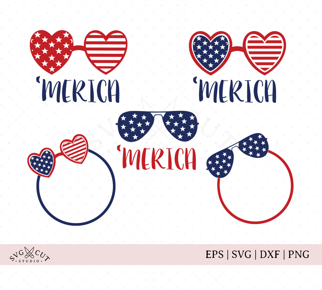 4th of July America Glasses SVG Files