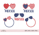 4th of July America Glasses SVG Cut Files