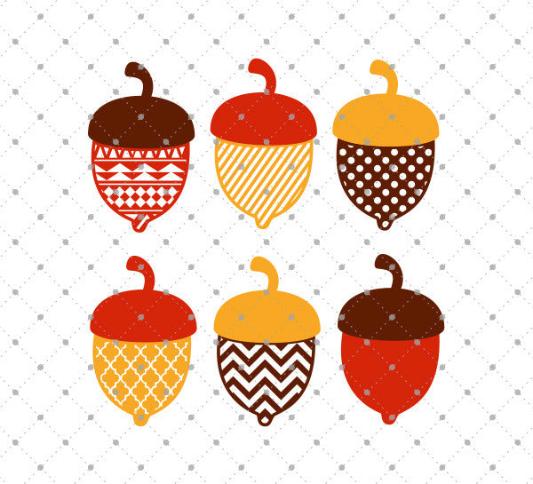 SVG files for Cricut Patterned Acorn SVG Cut Files Silhouette Studio3 files PNG clipart free svg by SVG Cut Studio