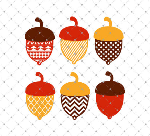 Patterned Acorn SVG Cut Files
