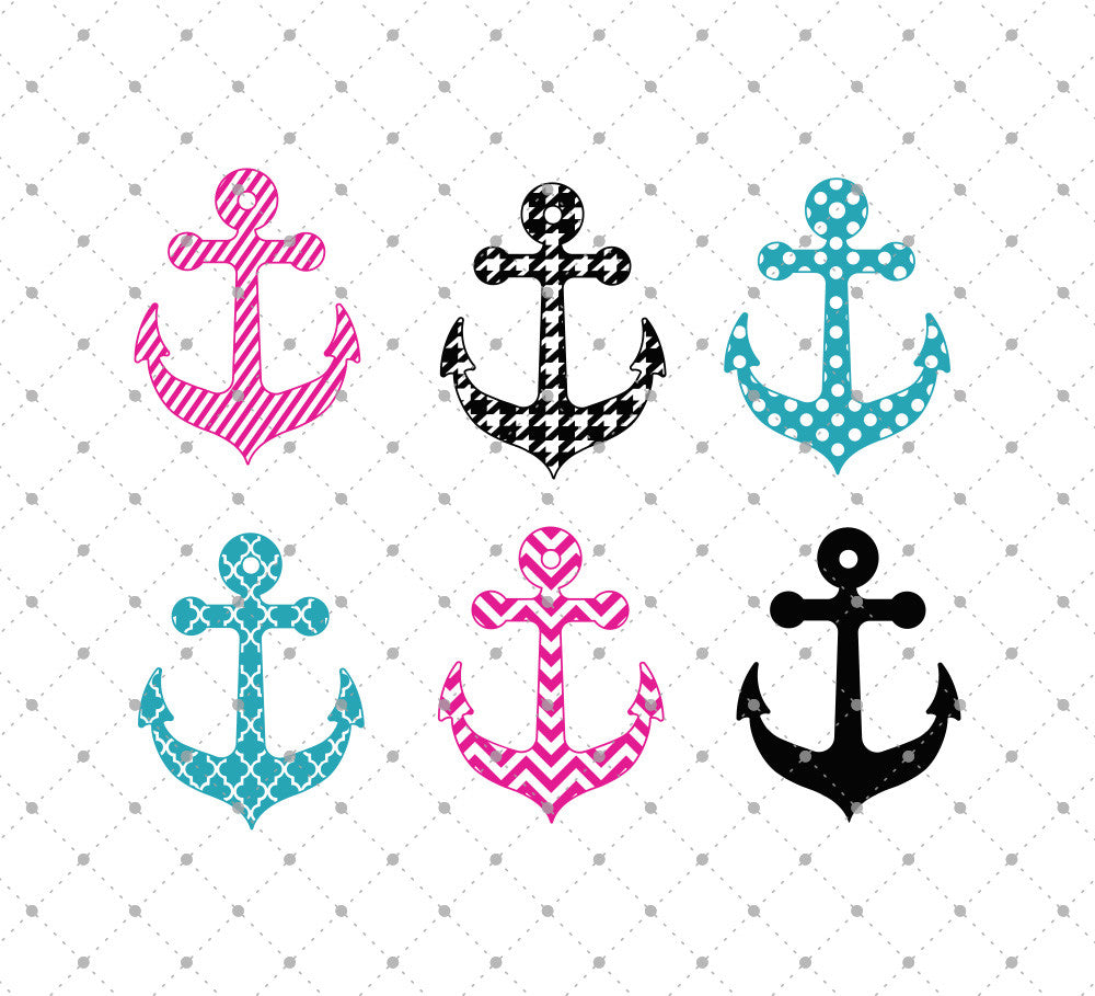 Patterned Anchor SVG Cut Files - SVG Cut Studio