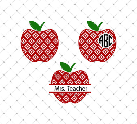 Patterned Apple Monogram Frames SVG Cut Files D2 - SVG Cut Studio