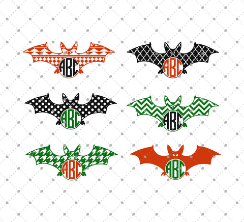 Patterned Halloween Bats Monogram Frame SVG Cut Files