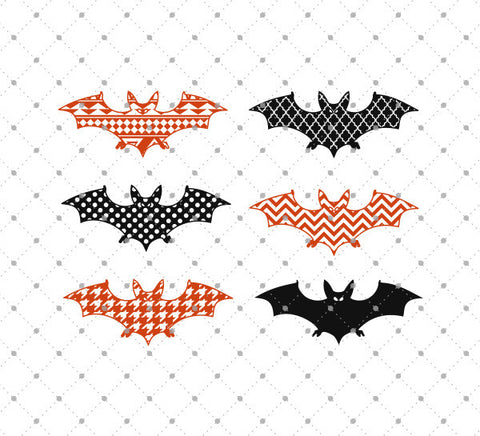 Patterned Halloween Bats SVG Cut Files