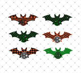 SVG files for Cricut Patterned Halloween Bats Monogram Frame SVG Cut Files Silhouette Studio3 files PNG clipart free svg by SVG Cut Studio