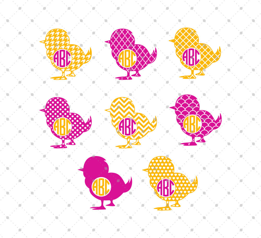 Patterned Easter Chick SVG Cut Files - SVG DXF PNG cut cutting files for Cricut and Silhouette by SVG Cut Studio