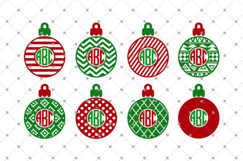 Patterned Christmas Monogram Frames SVG Cut Files